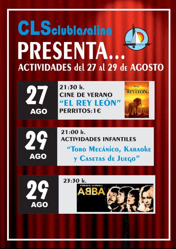 ACTIVIDADES 27-29 DE AGOSTO