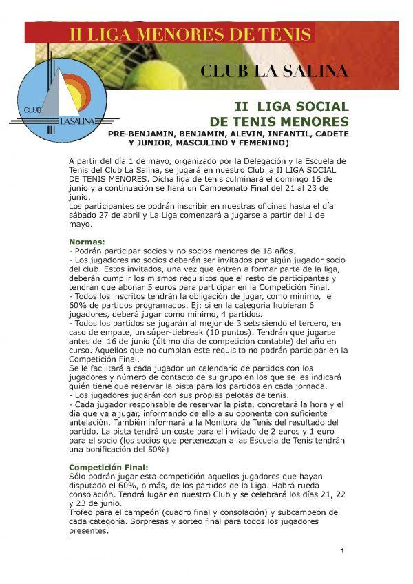 LIGA DE TENIS MENORES 2013