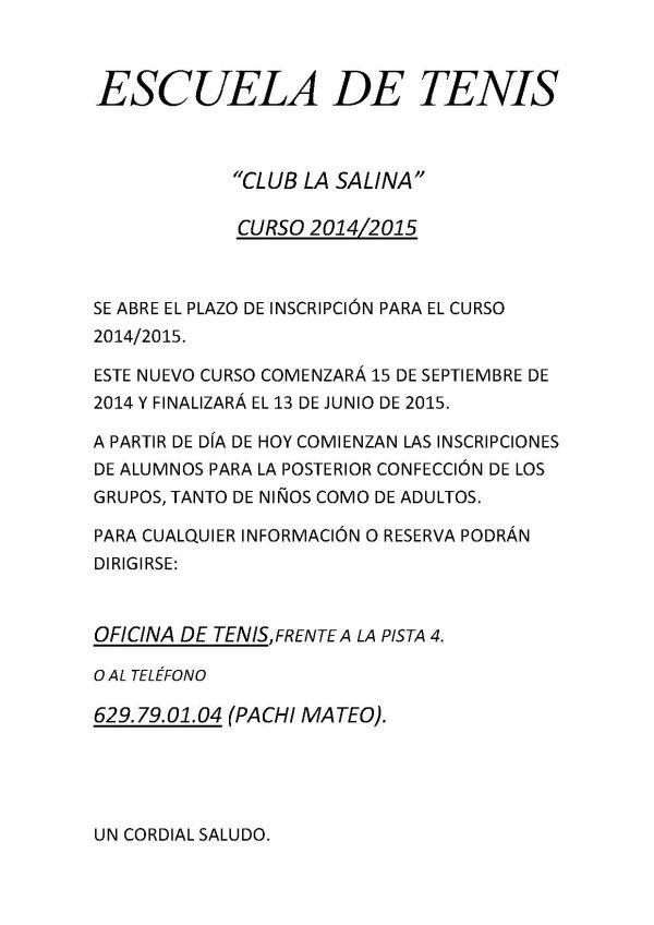 ESCUELA DE TENIS 2014-2015