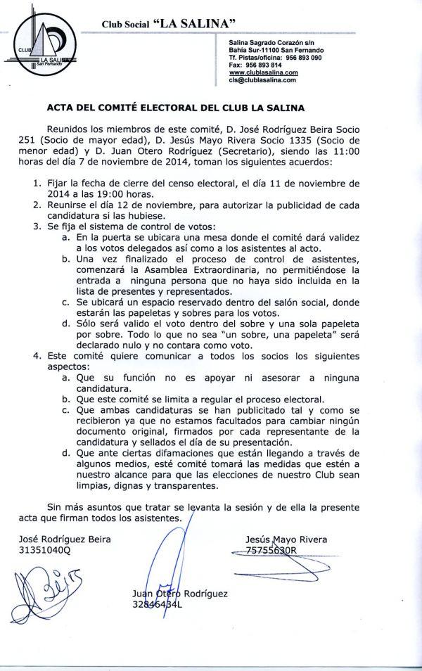 ACTA DEL COMITÉ ELECTORAL