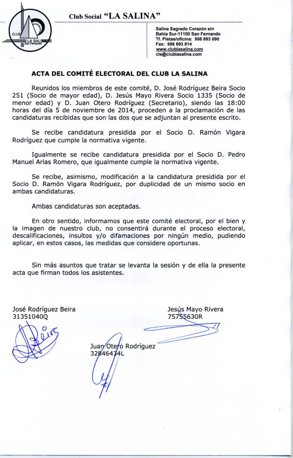 PROCLAMACION CANDIDATURAS