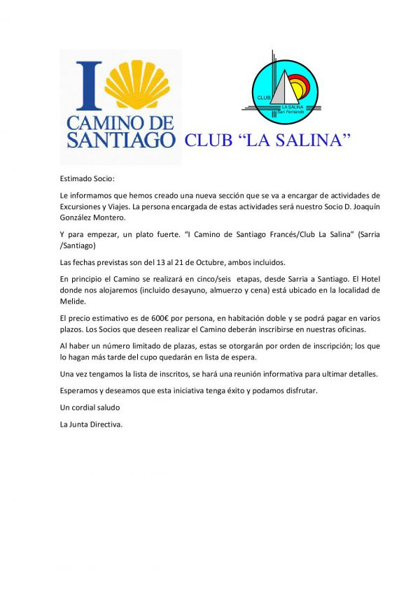 I CAMINO DE SANTIAGO CLUB LA SALINA