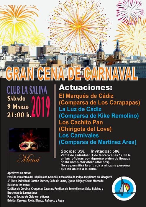 ULTIMAS PLAZAS CENA CARNAVAL