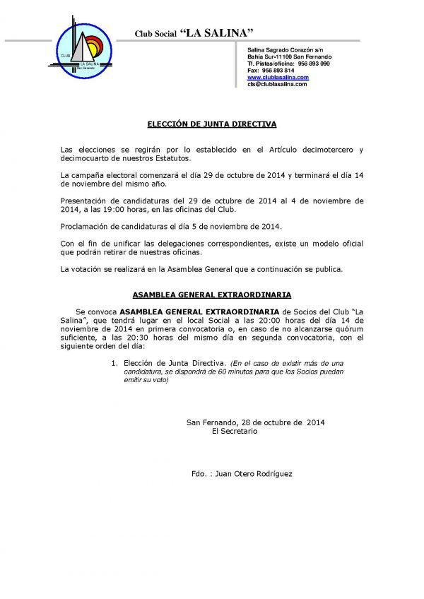 ELECCIONES JUNTA DIRECTIVA