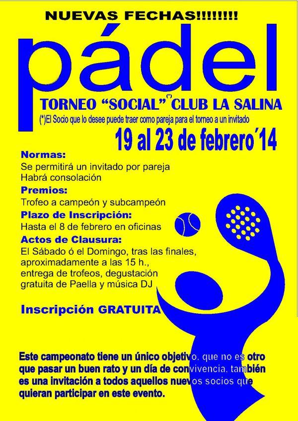 TORNEO SOCIAL DE PADEL. NUEVA FECHA