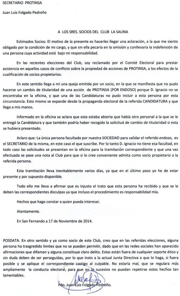 COMUNICADO DEL SECRETARIO DE PROTINSA